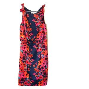 Bright floral and navy dress